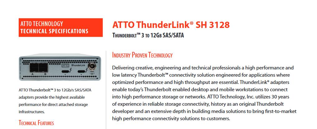 ATTO ThunderLink Sh3128 Tech. Spec.