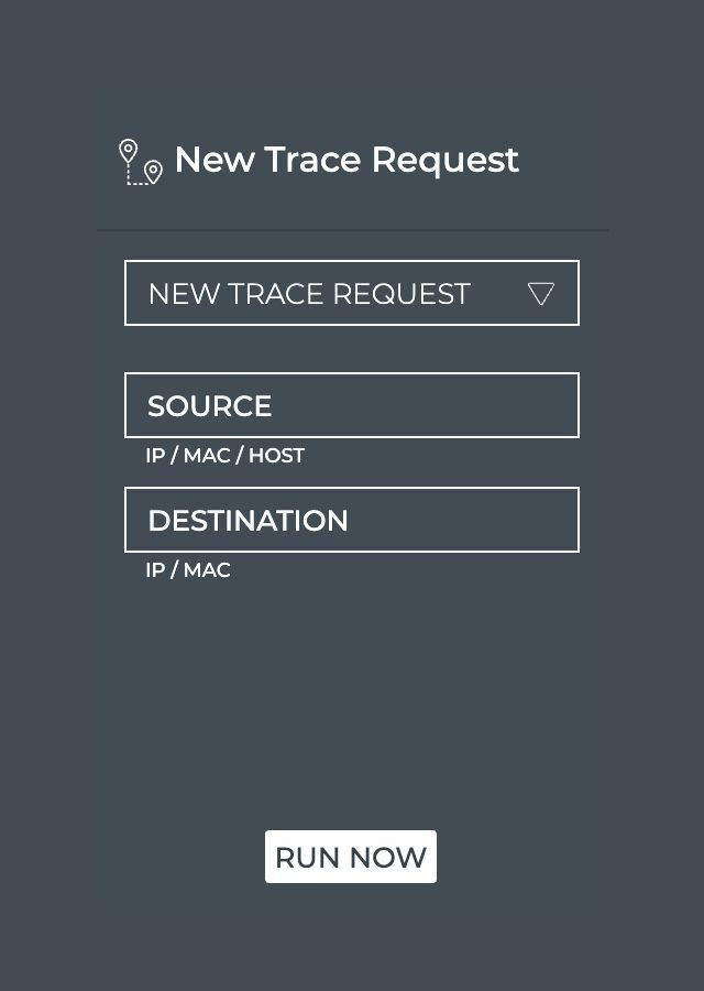 NetQ GUI screenshot new trace request